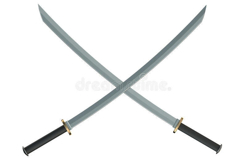 Two crossed Japanese samurai katana swords royalty free stock photo