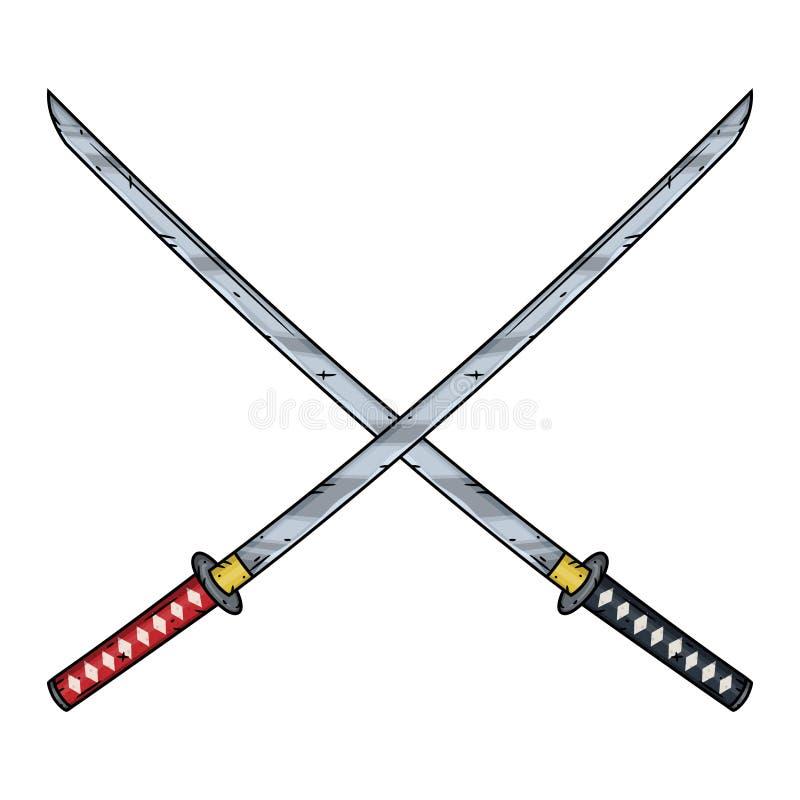 Two crossed katanas ,vector illustration. Cartoon katanas. stock illustration
