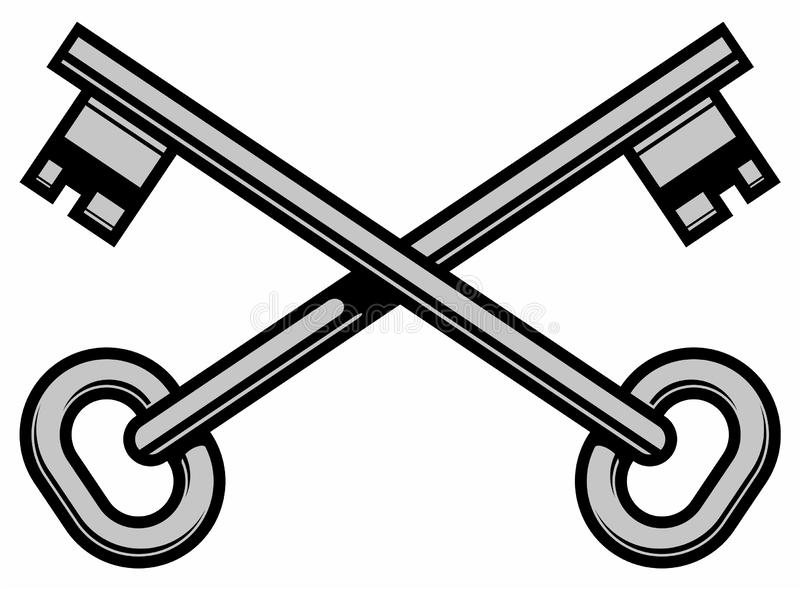 Two crossed keys, black and white simple vector logo design, isolated on white background. Abstract sign, vintage emblem. royalty free illustration