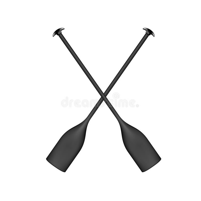 Two crossed paddles in black design royalty free illustration