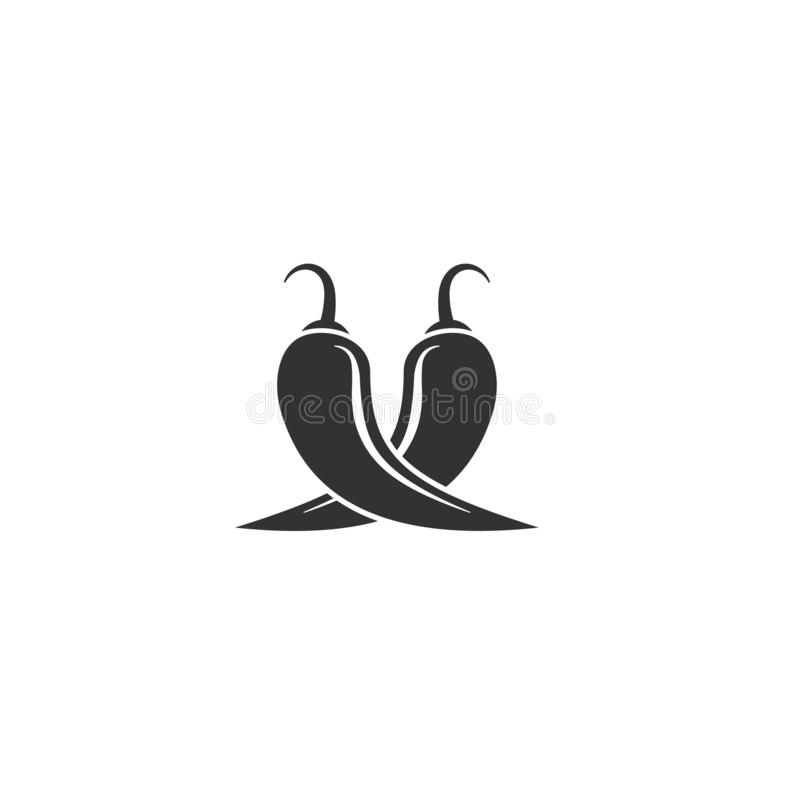 Two crossed Red hot Chili peppers or cayenne, or jalapeno. Vector vegetable icon isolated on white vector illustration
