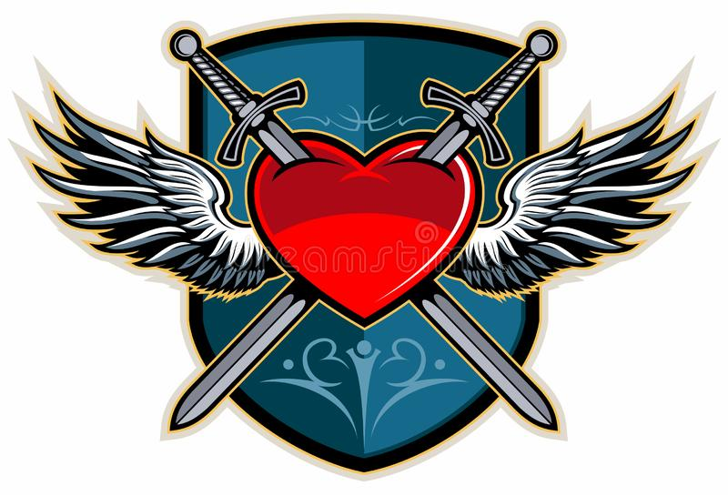 Two crossed swords piercing a heart with the wings and shield on background, medieval, vintage style vector logo. vector illustration