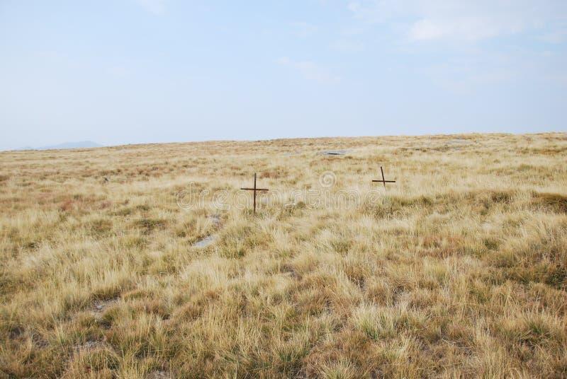 Two crosses in a field remembering the WWI battle of Kajmakchalan. Two crossed in a field near the top of mount Kajmakchalan on the Greek-Macedonian border near royalty free stock photos