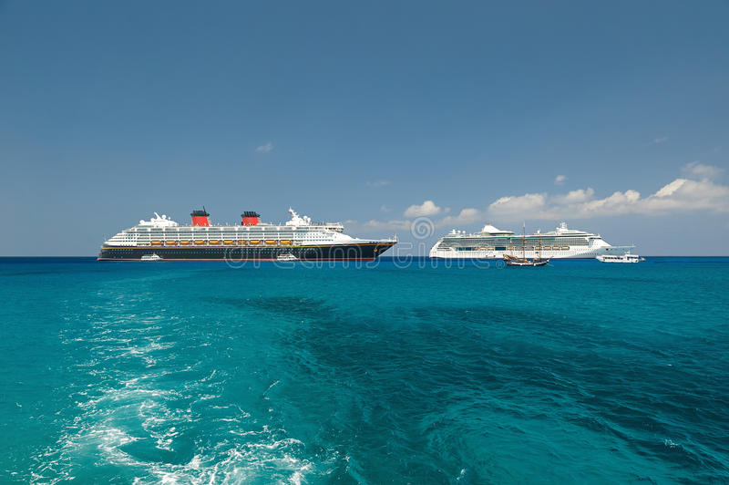 Two cruise ships in harbor royalty free stock photo