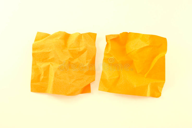 Two crumpled colour papers stock photography