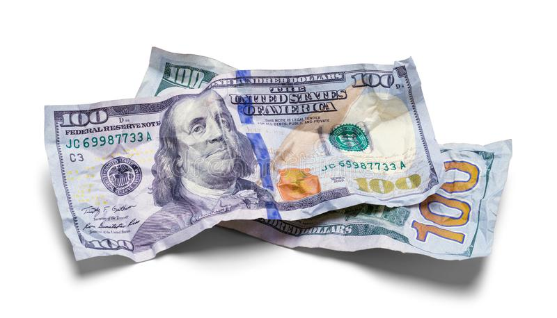 Two Crushed Hundred Dollar Bills royalty free stock photography
