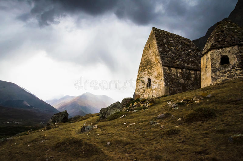 Two crypt on the background of a stormy sky royalty free stock image