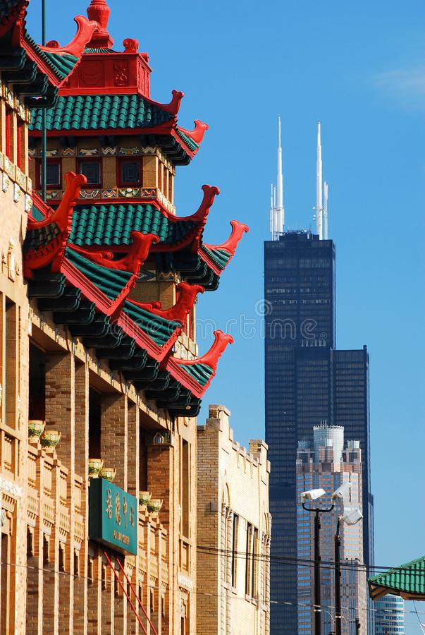 Chicago skyline from Chinatown stock photography
