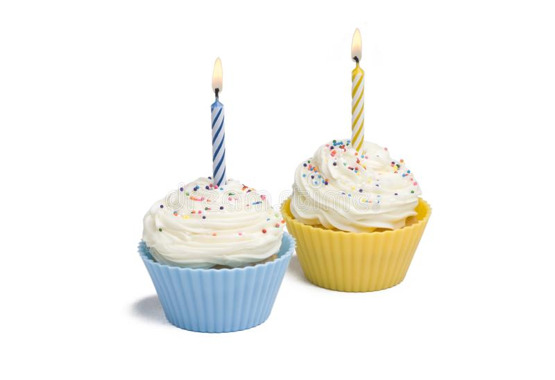 Two Cupcakes with Candle stock images