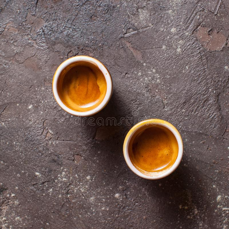 Two cups of Coffee espresso stock images
