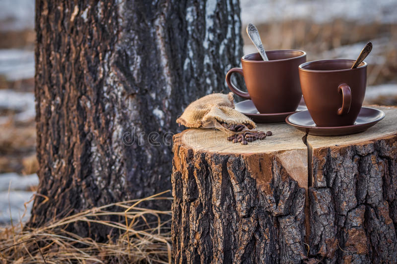 Two cups of coffee on stump stock image