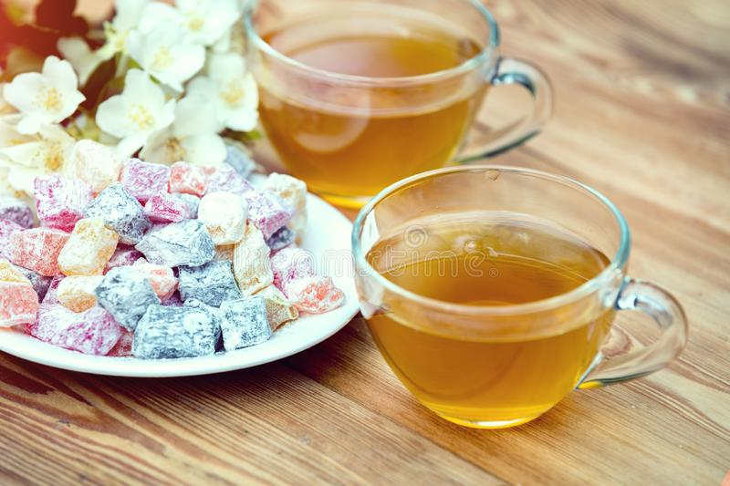 Two cups of green tea with jasmine stock images