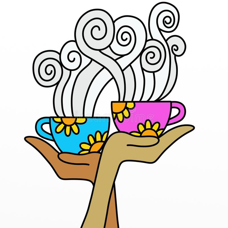 Download Two cups in hand stock illustration. Illustration of isolated - 25438192