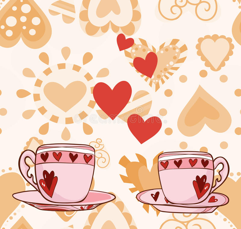 Painting Two Cups Of Coffee Or Tea With Heart Stock