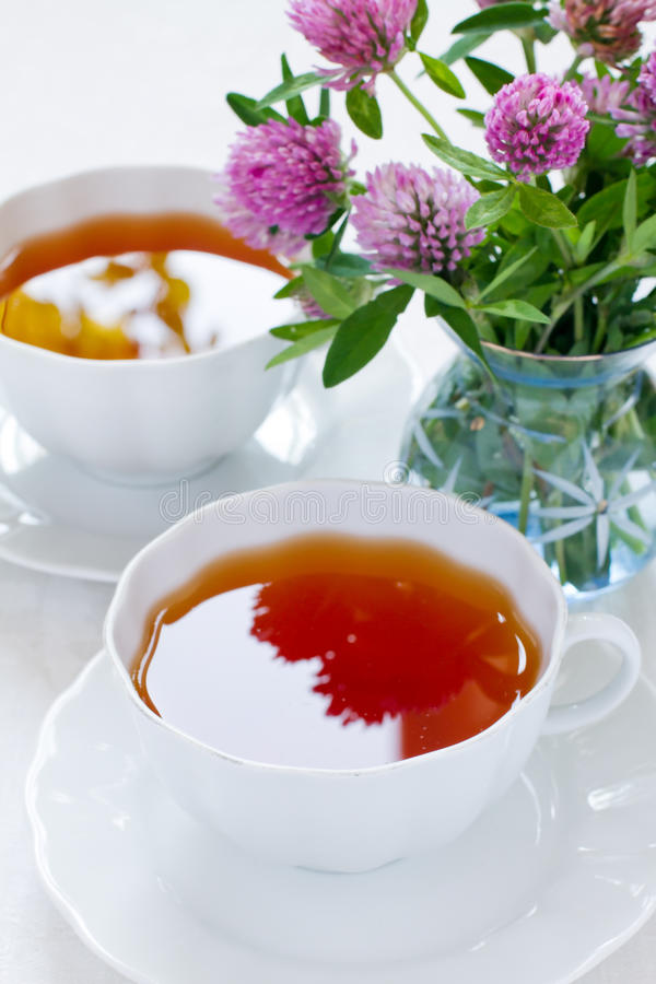 Two cups of herbal tea royalty free stock image