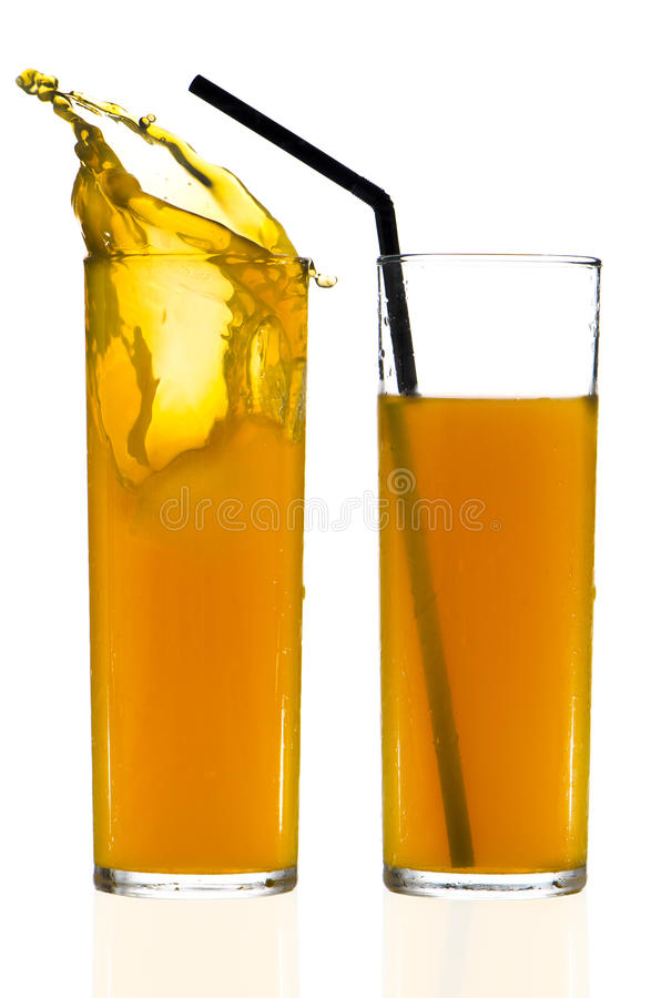 Two cups of orange juice royalty free stock photo