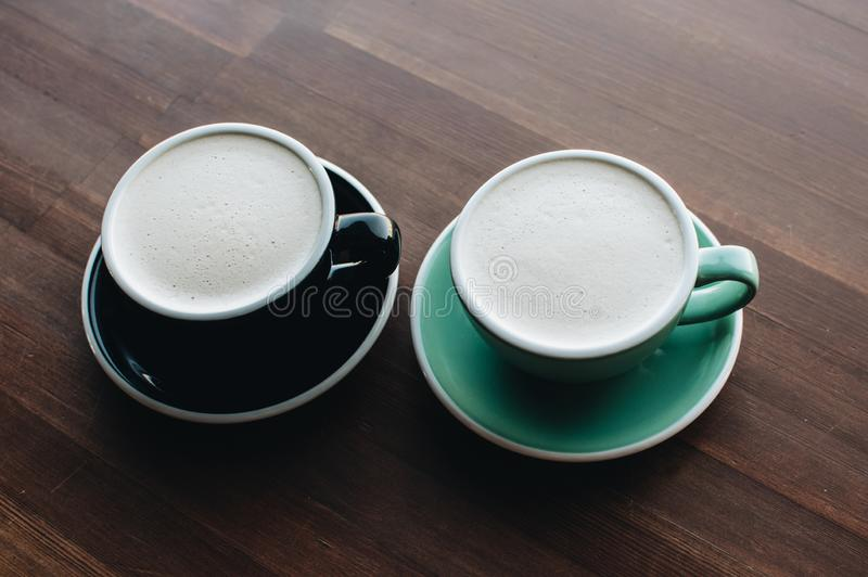 Two cups of raf coffee. royalty free stock photography