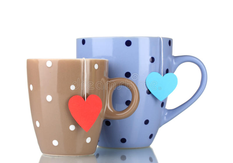 Two cups and tea bags royalty free stock photography