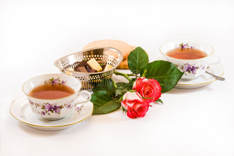 Download Two Cups Of Tea With Chocolates And Cookies Stock Photos - Image: 9403373
