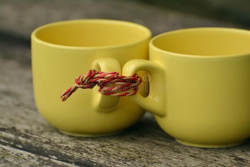 Two cups tied together royalty free stock photos
