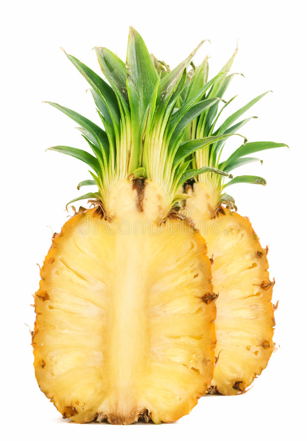 Two cut of pineapple. [with clipping path royalty free stock photo