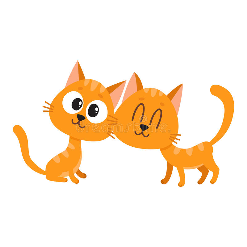Free Two Cute And Funny, Curious, Cuddling Red Cat, Kitten Characters Stock Images - 88326094