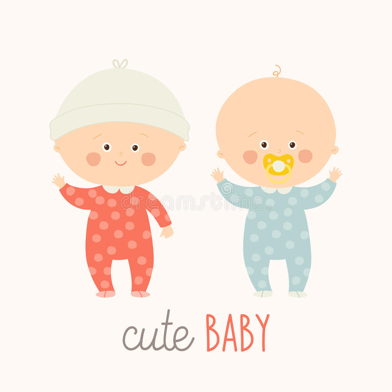 Two cute babies standing with baby pacifier. Toddler boy and girl smiling. vector illustration