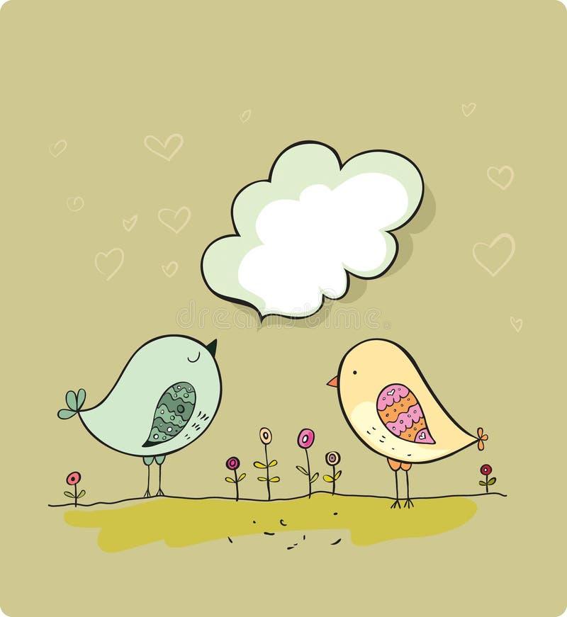 Two cute birds stock illustration