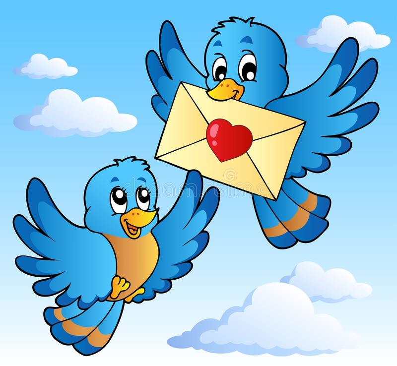 Two cute birds with love letter 1 stock illustration