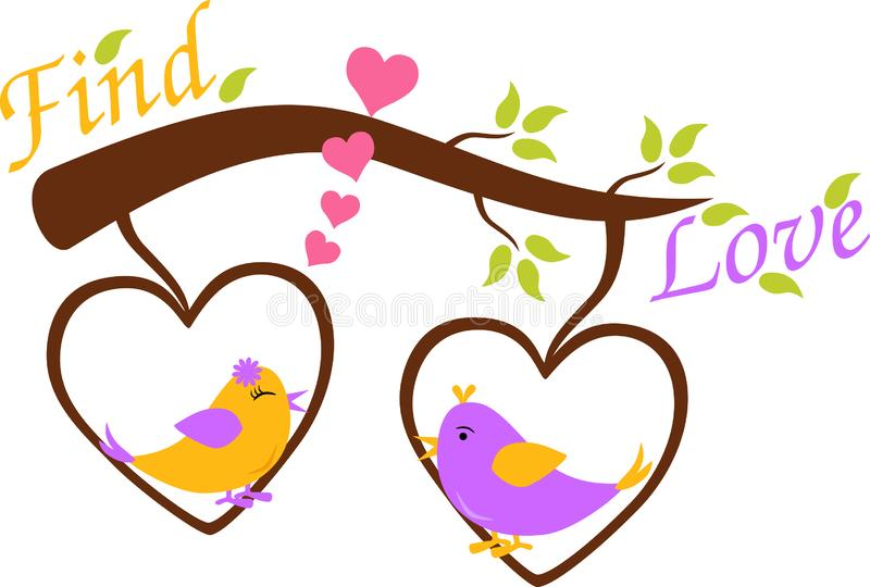 Two cute birds, To find love stock illustration
