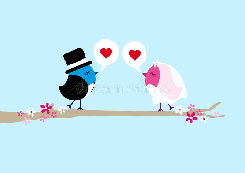 Two Birds Wedding On Tree Speech Bubbles Heart Blue Sky royalty free illustration