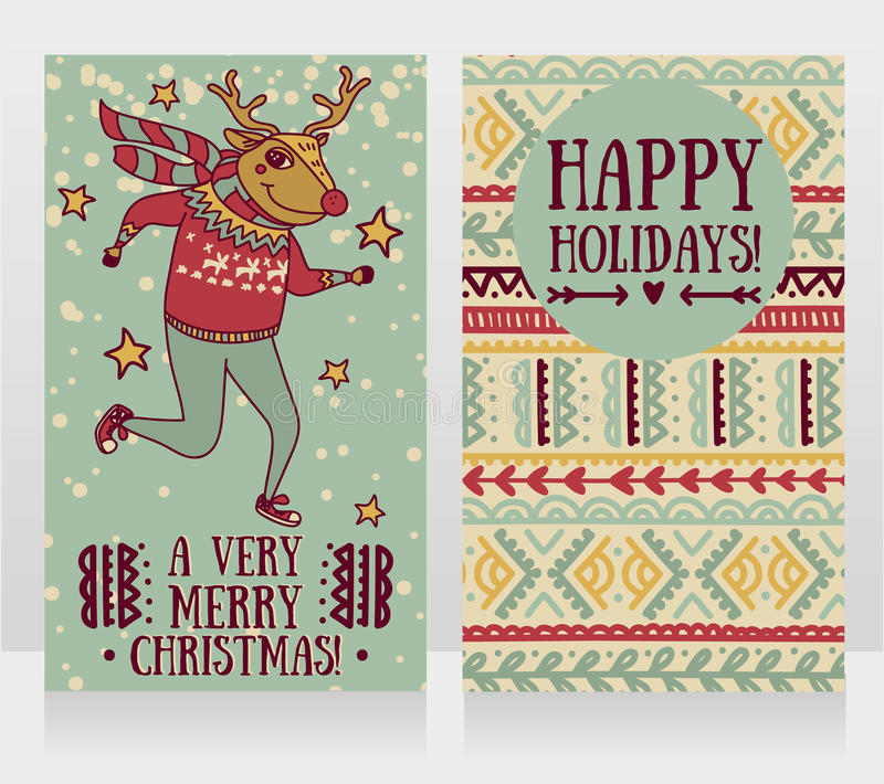 Two cute cards for christmas party with funny doodle deer. Vector illustration stock illustration
