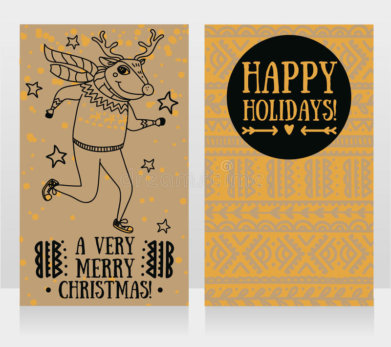 Two cute cards for christmas party with funny doodle deer. Vector illustration royalty free illustration