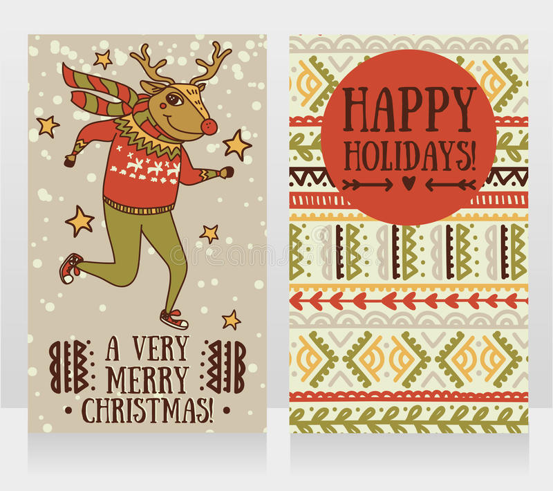 Two cute cards for christmas party with funny doodle deer. Vector illustration vector illustration
