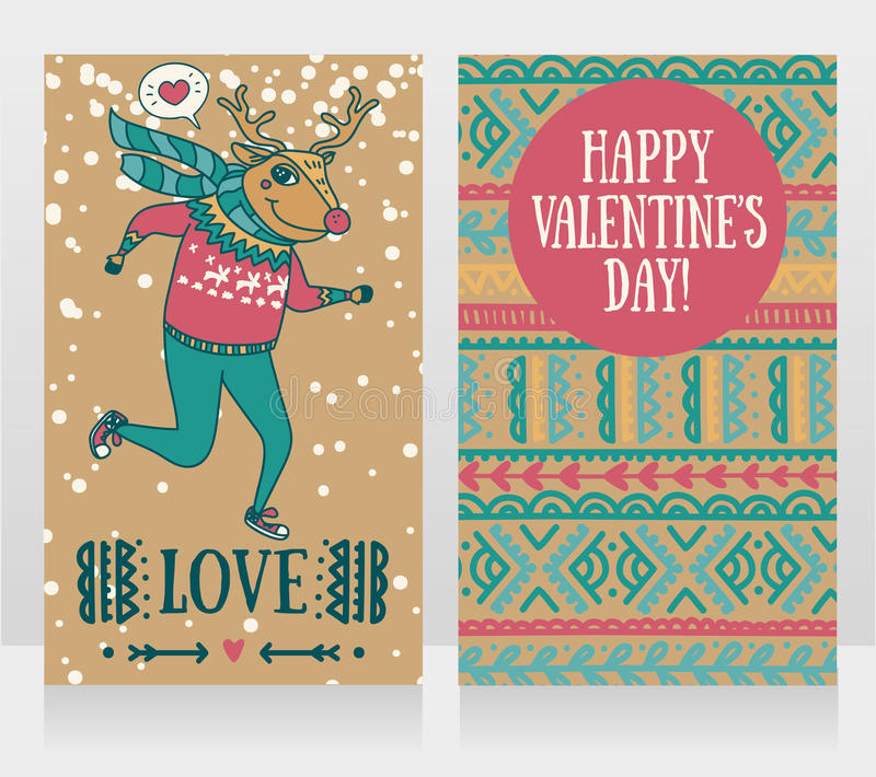 Two cute cards for valentine`s day with funny doodle deer. Vector illustration stock illustration
