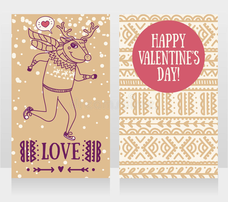 Two cute cards for valentine`s day with funny doodle deer. Vector illustration royalty free illustration