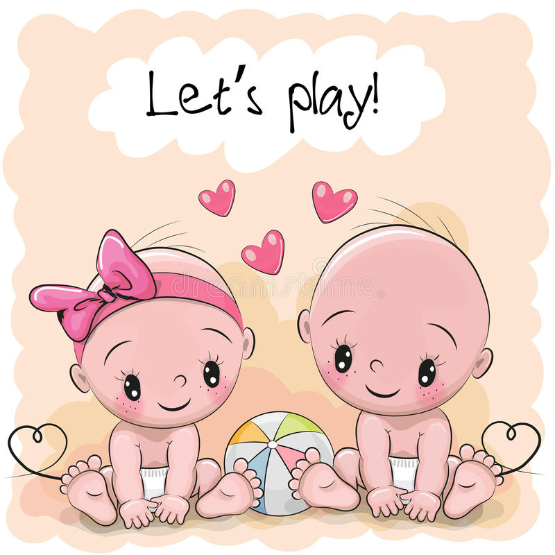 Two Cute Cartoon babies. Boy and girl stock illustration