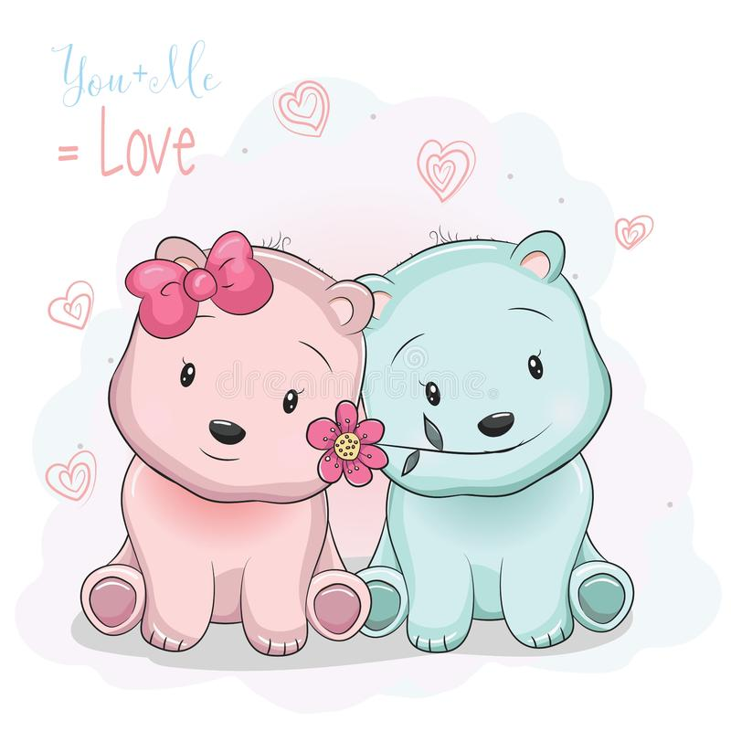 Two cute cartoon bears boy and girl on love background royalty free illustration