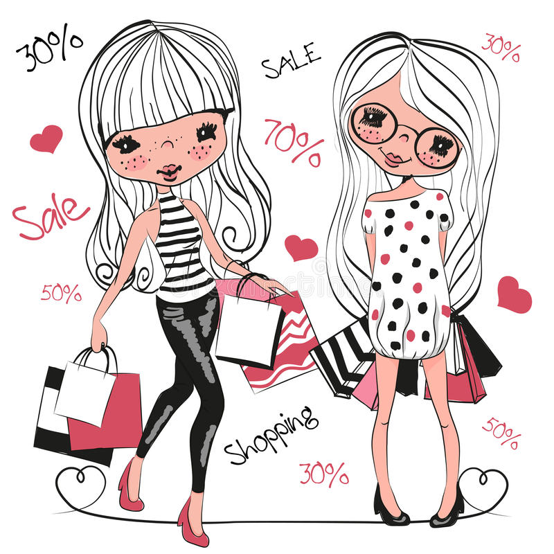 Two Cute cartoon girls with bags vector illustration
