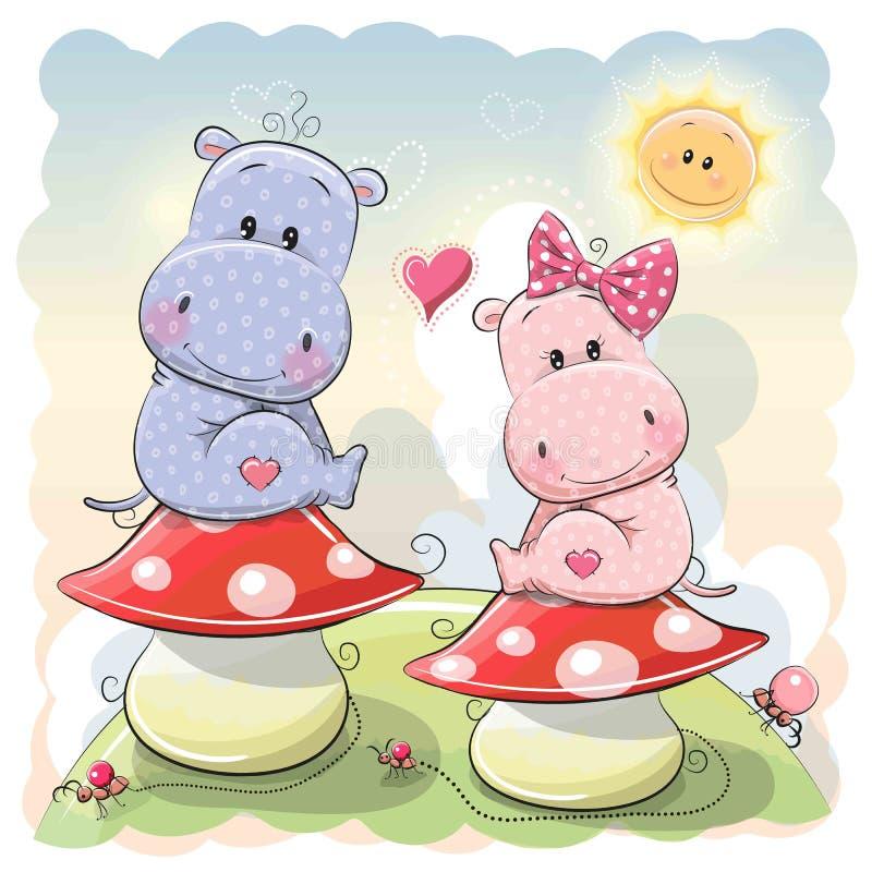 Two Cute Cartoon Hippos stock illustration