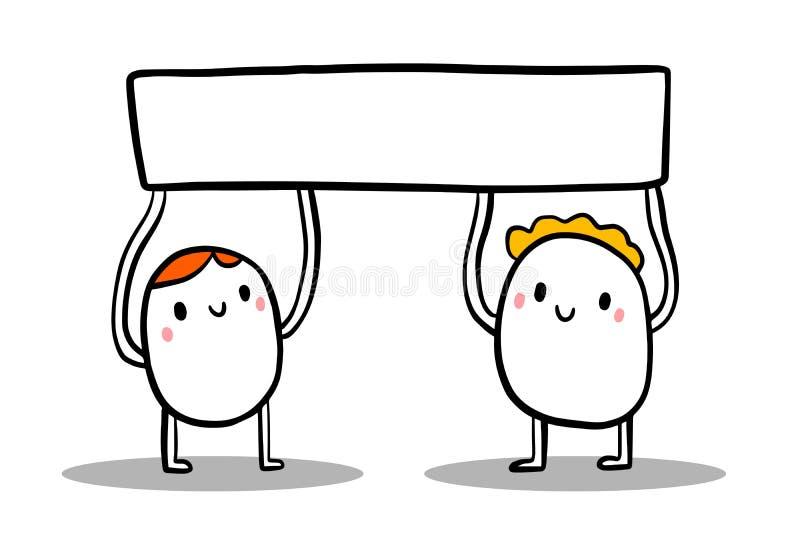 Two cute cartoon men holding empty blank banner. Minimalism style vector illustration