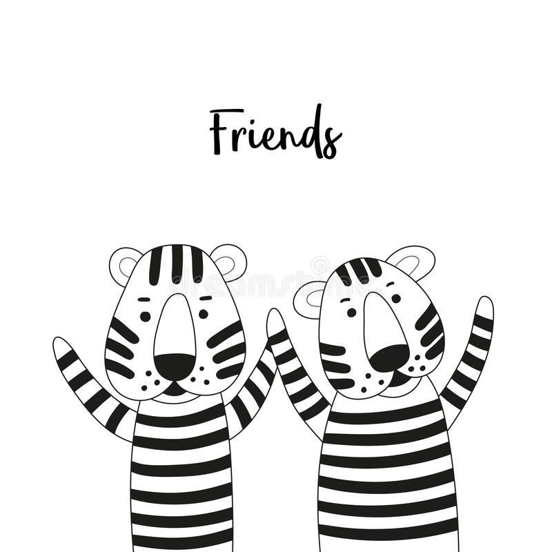 Two Cute Cartoon Tigers Friends. Black And White Coloring Page ...
