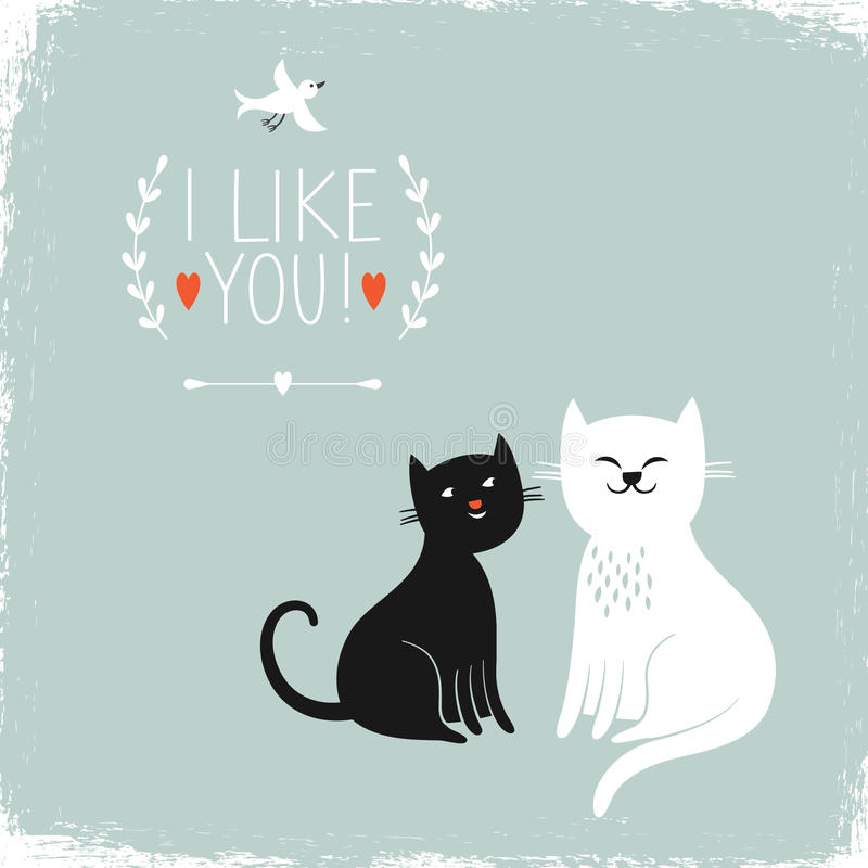 Two cute cats royalty free illustration