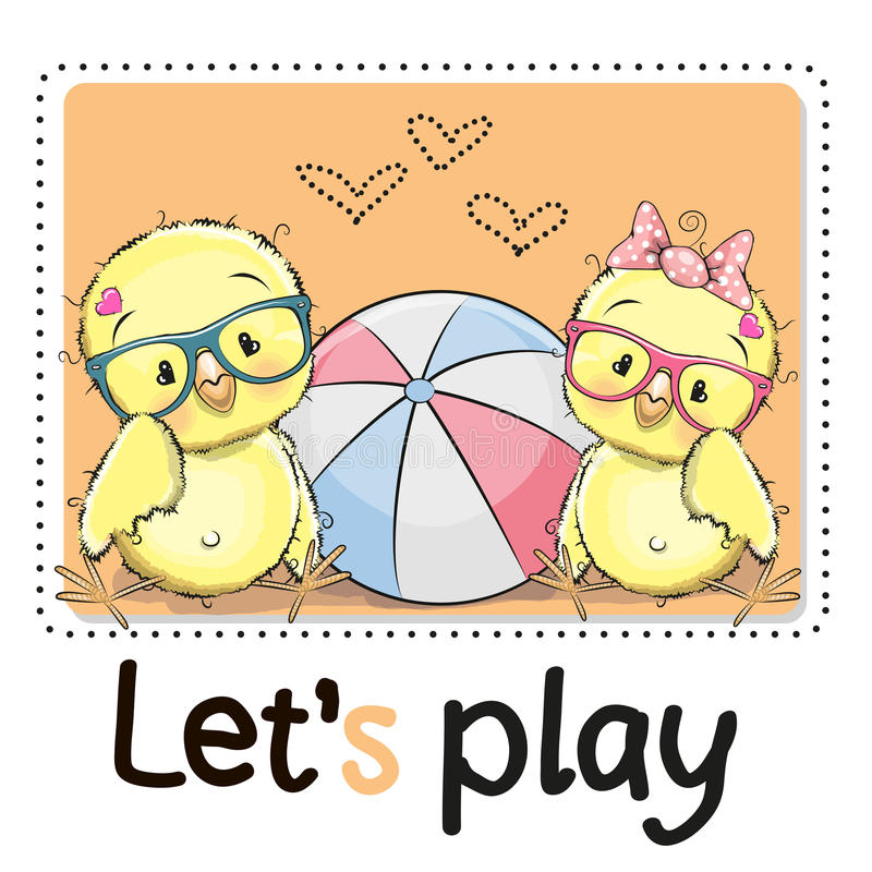 Two Cute chicks stock illustration