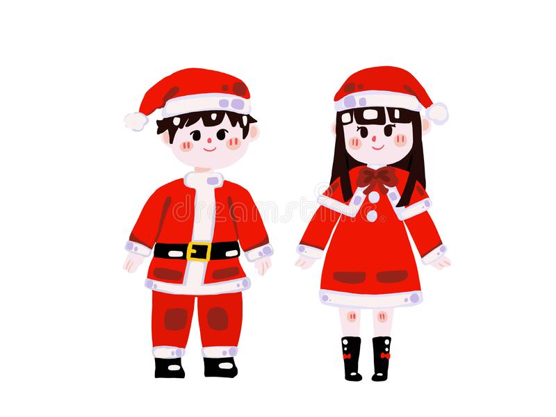 Two cute children in christmas elf costumes. Christmas concept vector illustration