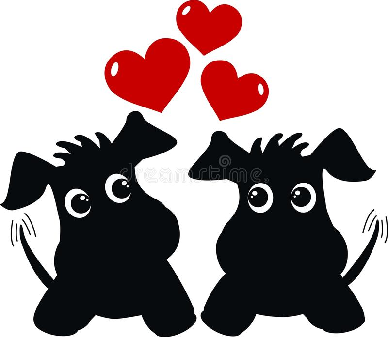 Two cute dogs in love vector illustration