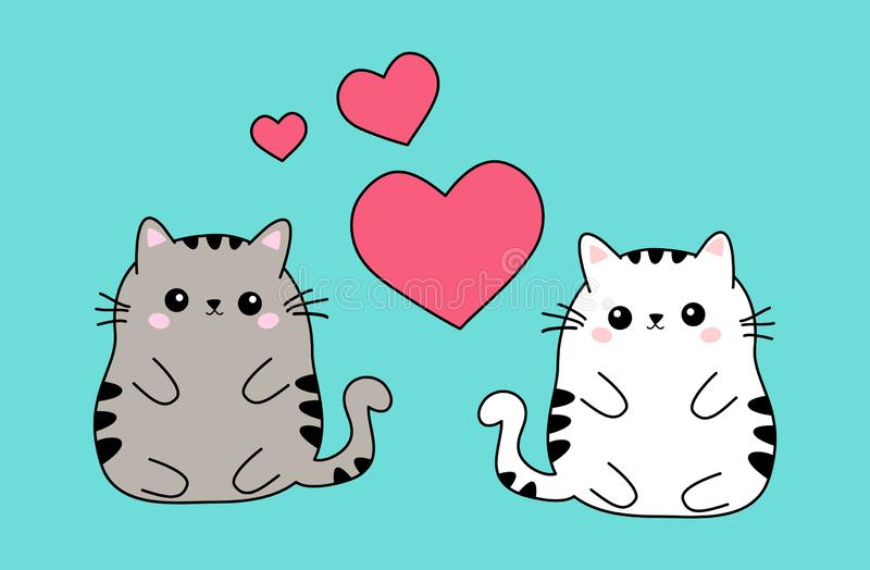 Two cute fat white and beige cat couple in love, anime kawaii style isolated on blue background. Valentines day concept. Or emoticon stickers. Vector eps10e vector illustration