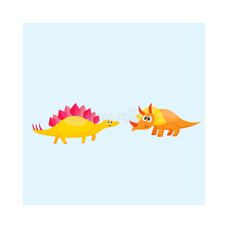 Two cute and funny baby dinosaur characters - stegosaurus and triceratops royalty free illustration