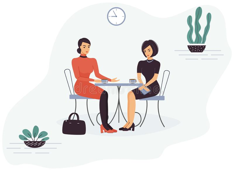 Two cute funny smart beautiful women colleagues are sitting in a cafe at a table, talking and drinking coffee or tea during break royalty free illustration