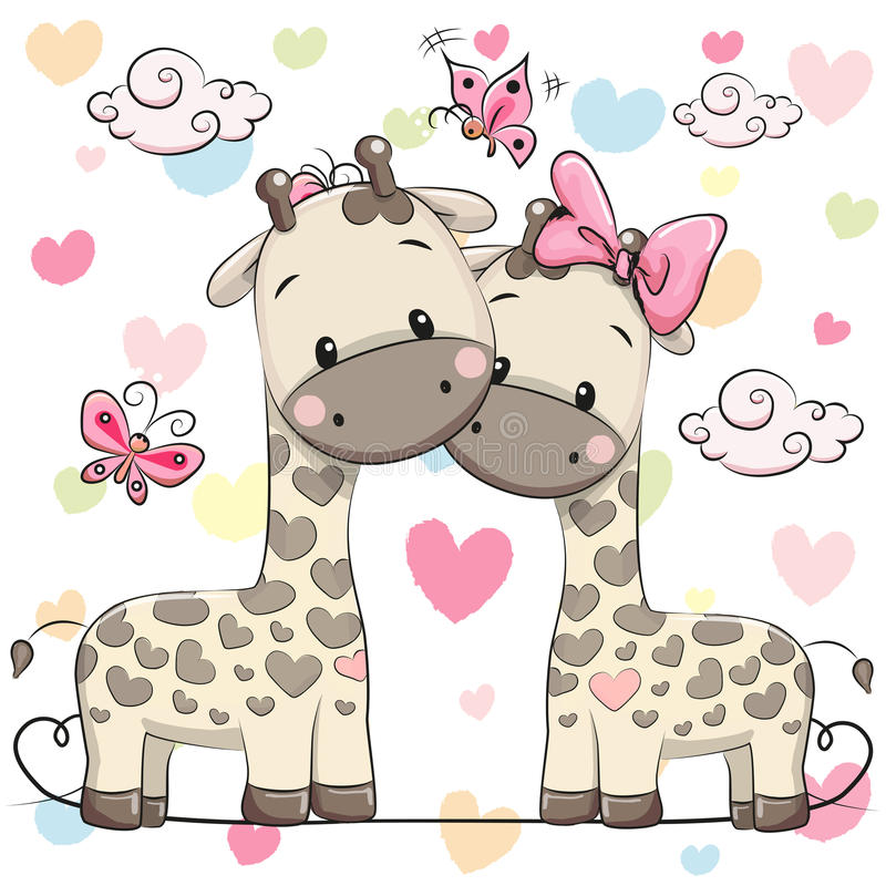 Two cute giraffes. Two cute cartoon giraffes on a hearts background